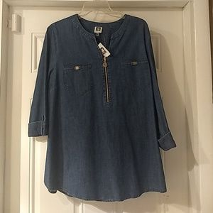 Anne Klein Denim Top Size Large New With Tags